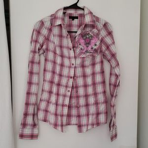 Tops - Pink plaid cowgirl shirt size S